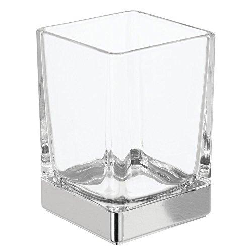 iDesign Casilla Trinkbecher, Badezimmer Becher zur Aufbewahrung aus Glas, durchsichtig