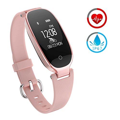 Smart Watch Damen ZKCREATION Bluetooth Fitness-Tracker K3 Intelligente Uhr Herzfrequenz-Überwachung Schlafüberwachung Informationen erhalten IP67 wasserdicht Kompatibel mit Android und IOS(Pink)