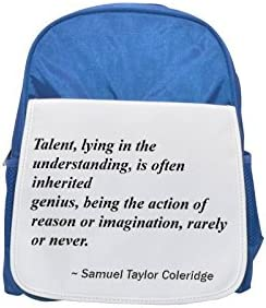 Talent, lying in in in the understanding, is often inherited; genius, being the action of reason or imagination, rarely or never. printed kid's Bleu  backpack, Cute backpacks, cute small backpacks, cute blac | En Gros