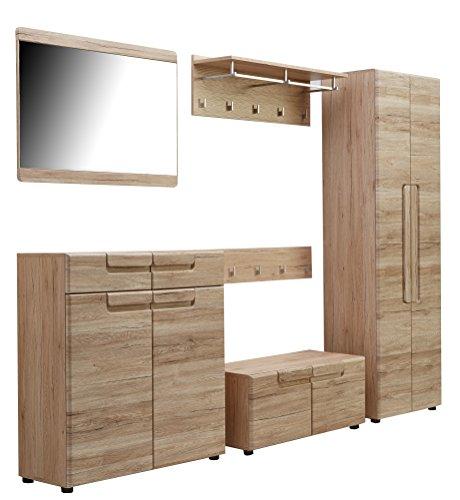 trendteam Garderobe Garderobenkombination 6-teiliges Komplett Set Malea, 278 x 188 x 38 cm in Eiche San Remo Dekor mit viel Stauraum und Ablagefläche
