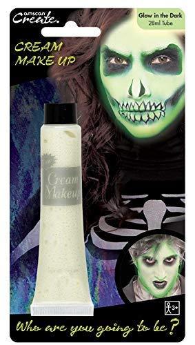 Damen Herren Jungen Mädchen Leuchten Im Dunklen Creme Make-Up Gesichtsbemalung Gespenstisch Gruseliges Skelett Geist Halloween Kostüm Verkleidung Zubehör (Gruselige Mädchen Halloween-make-up)