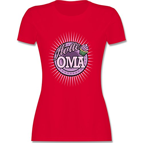 Shirtracer Oma - Flotte Oma - Damen T-Shirt Rundhals Rot