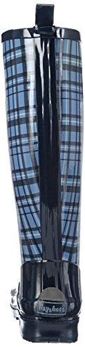 Playshoes Plaid Wellies Wellington Boots, Bottes de Neige femme Bleu - Blue - Blau (blau 7)