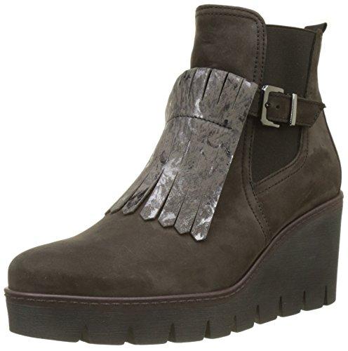 Gabor Shoes Damen Jollys Stiefel, Grau (Anthrazit (Cognac)), 38.5 EU (Veloursleder-wedge-stiefel)