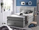 Froschkönig24 New Bed 120x200 cm Boxspringbett Bett inkl Bettkasten Grau