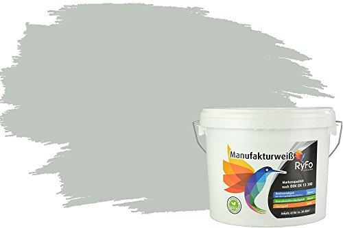 RyFo Colors Bunte Wandfarbe Manufakturweiß Graugrün 6l - weitere Grün Farbtöne und Größen erhältlich, Deckkraft Klasse 1, Nassabrieb Klasse 1