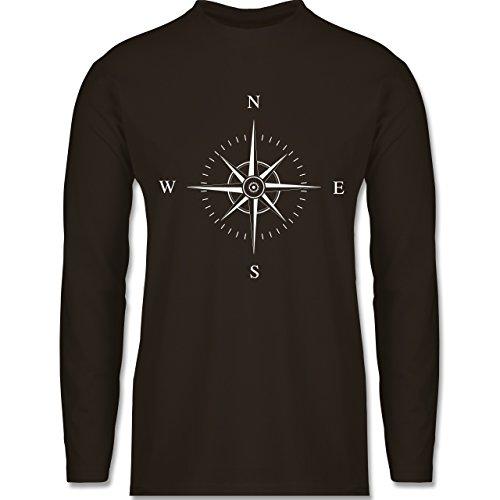 Shirtracer Statement Shirts - Kompassrose - Herren Langarmshirt Braun