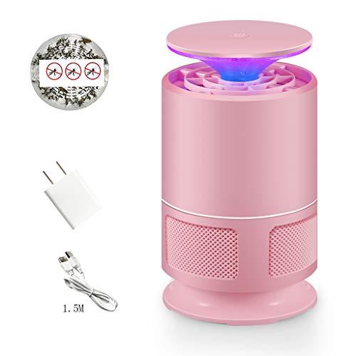 Rventric Anti-Moustique Lampe USB, Maison électronique Moustique alimenté Killer Lampe Safe, Insecte Mouche inhalateur Catcher Cuisine/arrière-Cour/Jardin/Patio,Pink