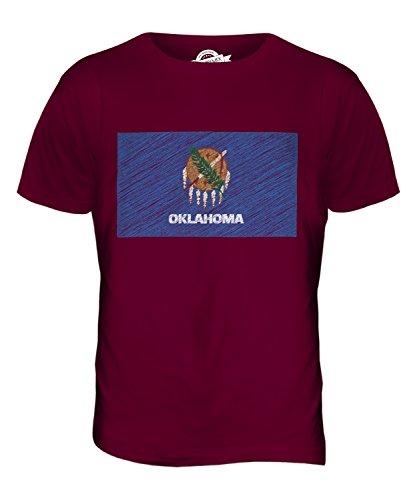 CandyMix Bundesstaat Oklahoma Kritzelte Flagge Herren T Shirt Burgunderrot