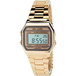 GG LUXE- Damen ArmbanduhrGold Rosa Quarz Stahl Rechteck Alarm Chronometer Licht Anzeige Digital Led Water Resist 3 ATM Sport Armband Gold RosaStahl