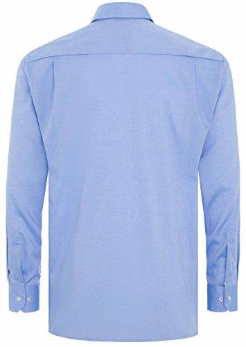 Modern Fit Langarm weiß uni mit Button-Down-Kragen Mittelblau
