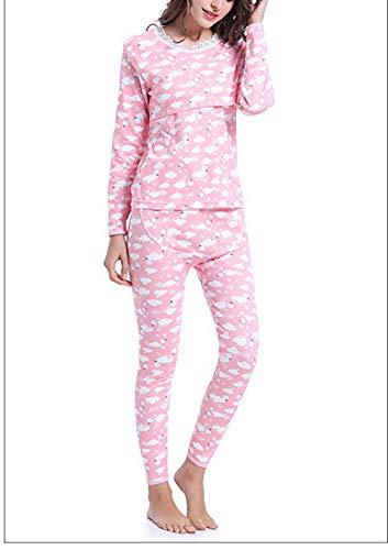 (CWXDIAN Long-Sleeved Schwangere Frauen Pyjamas Stillen Frauen Kleidung Anzug Baumwolle Postpartale Fütterung Schwangere Kleidung Anzug, blass rosa, XL)