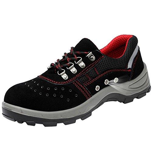 in Acciaio Scarpe Uomo da Lavoro Antinfortunistiche Sportive Scarpa Sneaker Ginnastica Trekking Estive Nero01 38 EU