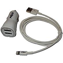 vhbw Adaptador USB para el coche, cable cargador 3.1A con cable USB lightning blanco para Apple iPhone 5 16GB, 32GB, 64GB, iPhone 5C