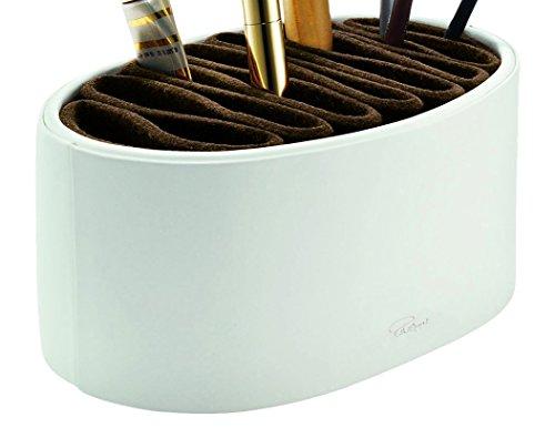Philippi Design Donatella Utility Box - Schminkutensilien aus weißem echten Kalbsleder - edel und elegant für die Ordnung im Bad oder Schlafzimmer (Utility-organizer-box)