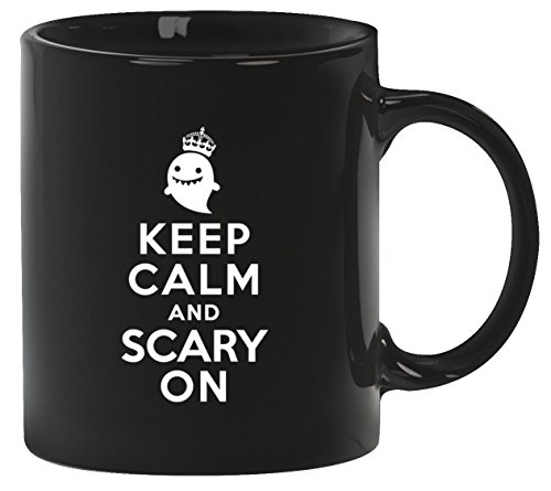 tüm Kaffeetasse Kaffeebecher mit Halloween - Keep Calm And Scary On Motiv, Größe: onesize,Schwarz (Tasse Kaffee Halloween Kostüme)