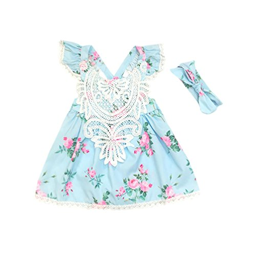 Hirolan Kleinkind Blumenrock Sommerkleider Bekleidungssets 2 Stück Neugeborene Kleidung Kinder Mädchen Gurt Blumen Ärmellos Rückenfrei Prinzessin Kleider+Stirnband