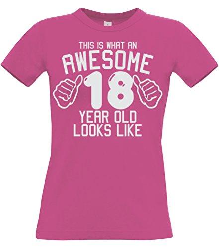 e 18 Jahre alt, Sieht aus wie Pink Mädchen Damen T-Shirt In Größe M mit Einer weißen Glitterdruck. ()