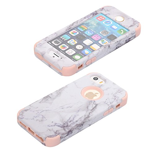 iPhone 8 Hülle,iPhone 7 Hülle,Handyhülle iPhone 8 / iPhone 7 Silikon Hülle,ikasus® [Heavy Duty Full-body] Marble Marmor Muster Hybrid Outdoor Dual Layer Armor Hülle Case Handy Schutzhülle für Apple iP Rosa