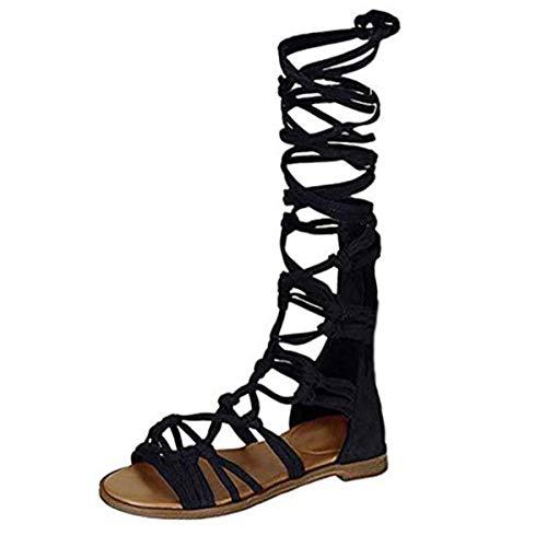 ZhengYue Sandalen Damen,Schuhe Hohe Stiefel Shoes Schuh Böhmen Sommerschuhe Sandaletten Geflochten Frauen Sommer Offene Flach Badesandalette Reißverschluss Elegante Strandschuhe Schwarz 39 - Stiefel Frauen Schuh