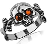 Baltic Honey Amber Sterling Silver Jolly Roger Ring