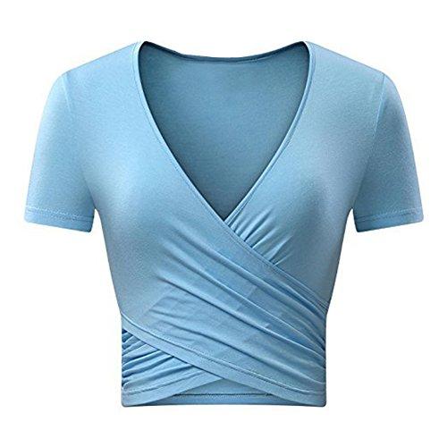 Jusfitsu Damen Tief V-Ausschnitt Bodycon Tops Sexy Sommer Kurzarm T-Shirt (Blau, M) -