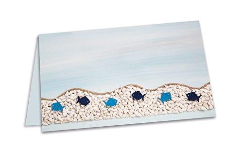 25 Stück maritime blaue türkise Fische Meer-Optik Tischkarten Namens-Schilder Sitzkarten Namenskärtchen Platzkarten - MIT JEDEM Stift beschreibbar - zur Taufe, Kommunion, Kinder-Geburtstag, Veranstaltungen