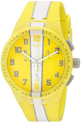 Swatch Unisex Chronograph Quarz Uhr mit Silikon Armband SUSJ100 (Chrono Uhr Swatch)