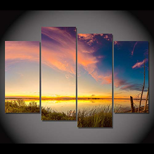 ZUMOOY HD Gedruckt Moderne Leinwand Wandkunst Malerei Modulare 4 Stück/Stücke See Dämmerung Schöne Ansicht Wohnkultur Wohnzimmer Bilder @ 20x40 20x60 cm mit Rahmen - Ansicht 16x20 Foto