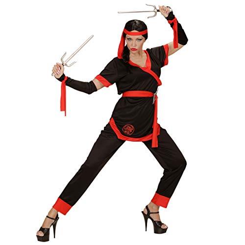 (Originelle Verkleidung Ninja-Kriegerin / Schwarz-Rot in Größe M (38/40) / Sportlich eleganter Shinobi-Anzug für Damen / Wie geschaffen zu Fasching & Asia Party)
