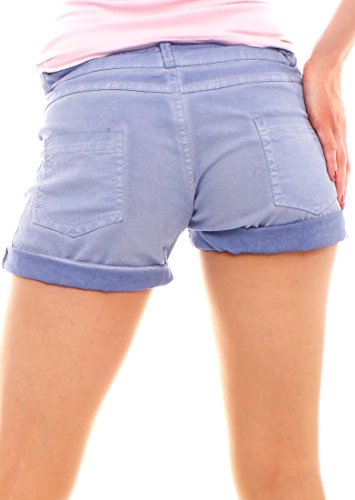 Easy Young Fashion Damen Shorts kurze Hose mit Knopfleiste uni Hellblau