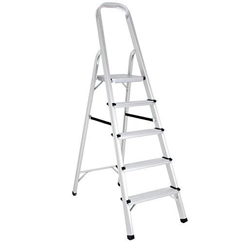 Songmics Escaleras Plegable de aluminio 5 peldaños Carga 150 kg GLT159