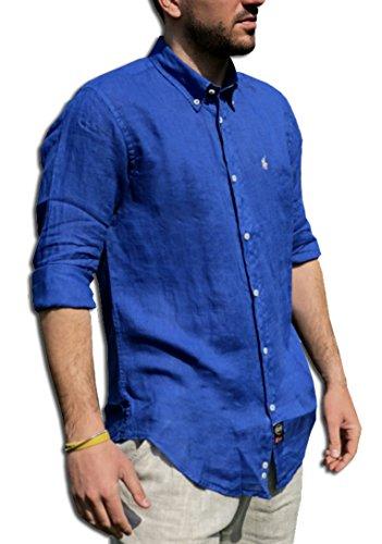 Tipo's camicia lino puro lino made in italy manica lunga primavera/estate 2018 (m, bluette)