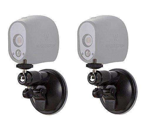 Saugnapf Halterung Suction Cup für Arlo Kamera für Arlo HD & Arlo Pro Kamerasystem Indoor/Outdoor Halterung von Wasserstein (2 Pack, Schwarz)