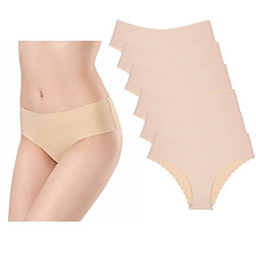 KISSLACE Damen 6er Pack Nahtlose Slips Seamless Unsichtbare Hipsters Tanga Unterhosen Hautfarbe S=EU42/44