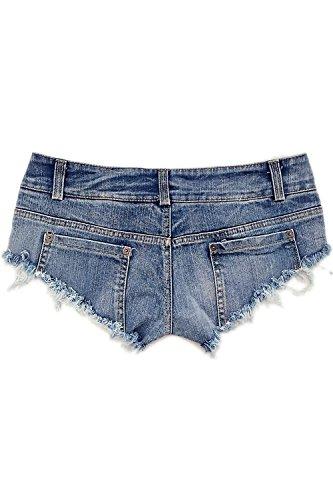 Le Donne Bassa Vita Tagliato Mini Denim Jeans Club Calzoncini Corti Blue