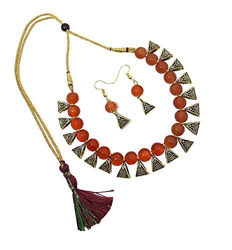 Archi Collection Boho Vintage Oxidized Gold Plated Multicolour Fashion Party Wear Pearl Choker Necklace Earring Jewellery Set for Women Girls