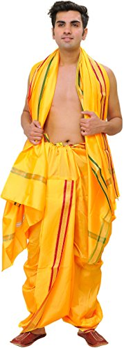 Exotic India Ready to Wear Dhoti and Angavastram Set with Woven Golden...