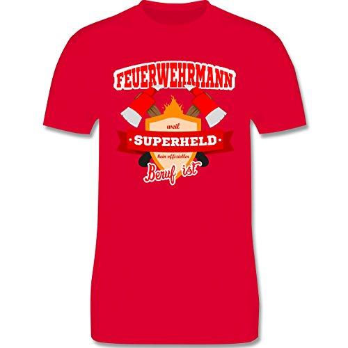 Feuerwehr - Feuerwehrmann - weil Superheld kein offizieller Beruf ist - Herren Premium T-Shirt Rot