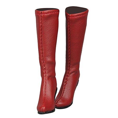 Baoblaze 1/6 Mitte Kalb Knie Stiefel Schuhe Für 12 Zoll Weibliche Action Figur Dress up Zubehör - Rot -