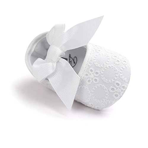 Auxma Neugeborene Baby mädchen Weiche Sole Bowknot Schuhe Weiche Unterseite Blume Prewalker Turnschuhe (11cm/0-6 Monate, Weiß)