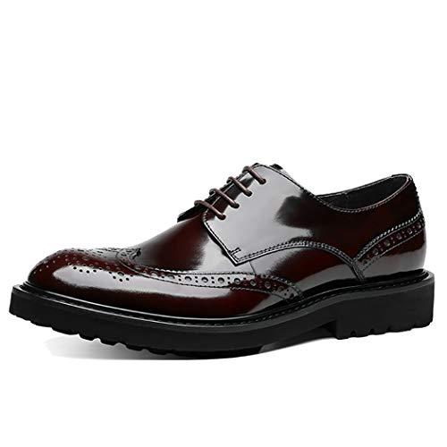 Herrenmode Leder Formelle Schuhe Schwarz Lackleder Herren Brogues Klassischen Stil Formale Schuhe Schnüren Oxford Schuhe,Brown,44EU 806 Oxford