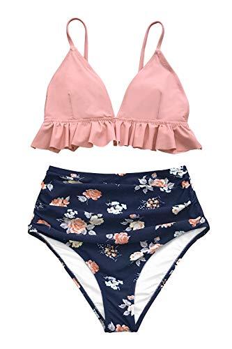 CUPSHE Rosa und Floral gekräuselt High Waist Bikini, XS -