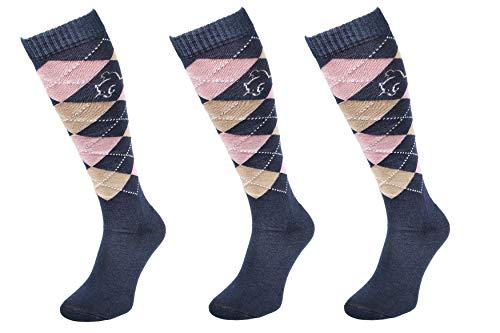 COMODO® 3x SET - REITSOCKEN COTTON - 82% Baumwolle | Reitstrümpfe | Kniestrümpfe | Socken | Karomuster | Perfect Fit | Antibakteriell | Geruchshemmend | Feuchtigkeitsregulierend, Farbe:Cotton - Navy/Pink/Brown;Größen:35-38