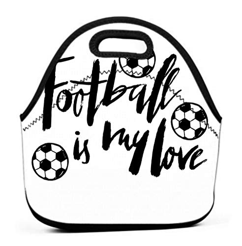 Lunch Bag for Women,Sturdy Lunch Box Tote Easy Cleaning Water-resistant Lunch football lettering cup soccer championship flying ball carder banner flyer logo icon quote my love