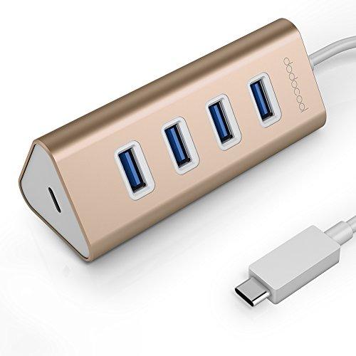 dodocool USB Tipo-C 4 Puertos USB 3.0 Hub Adaptador de Aluminio con USB-C Puerto de Carga para MacBook Nueva