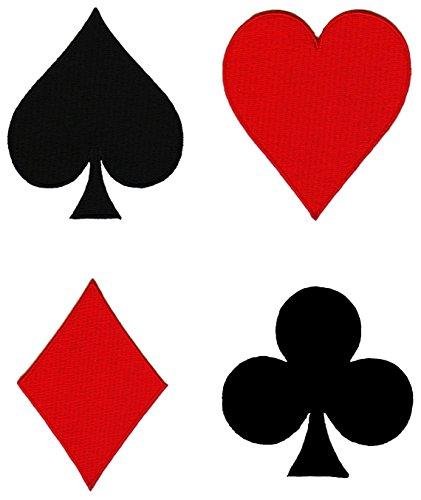 Poker Herz Karo Pik Kreuz Aufnäher 4 Stück Bügelbild Patch -