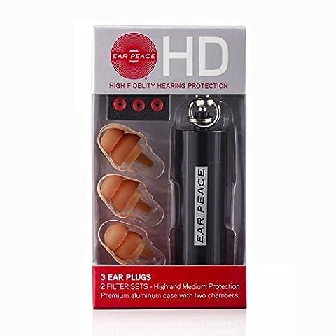 EarPeace HD: Protection Auditive Haute Fidélité (Bouchon D'oreille) (Bouchons Marrons/ Étui Noir)