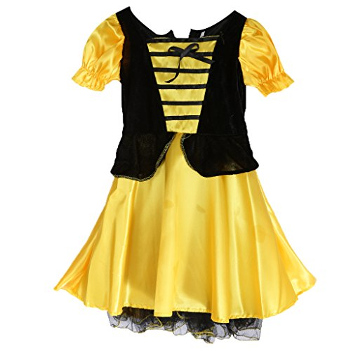 Kinder, Die Mädchen Bumble Cosplay Klage Bienen Partei Abendkleid Halloween Kostümkleid (Bee Für Halloween-kostüm Bumble Erwachsene)