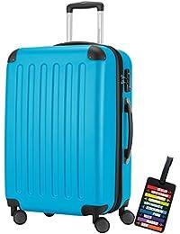 Hauptstadtkoffer® Bagaglio a mano (82 litri) con un lucchetto TSA Seria SPREE (Colore Celeste con 1 ciondolo per la valigia)
